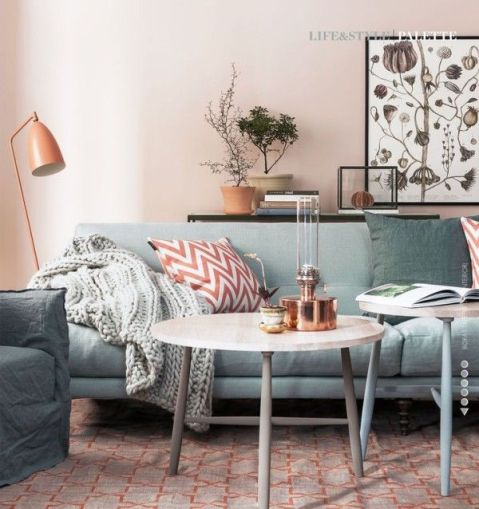 Blue And Peach Living Room Interior Looks